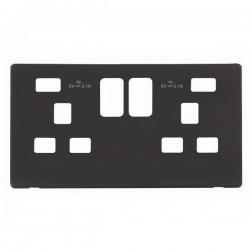 Click Definity Screwless Black 2 Gang 2x2.1A USB Socket Cover Plate