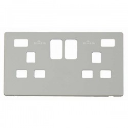 Click Definity Screwless Polar White 2 Gang 2x2.1A USB Socket Cover Plate