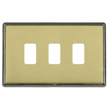 Hamilton Linea-Rondo CFX Black Nickel/Polished Brass 3 Gang Grid Fix Aperture Plate with Grid