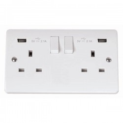 Click Mode White 2 Gang 13A Switched Socket with 2x2.1A USB Outlet