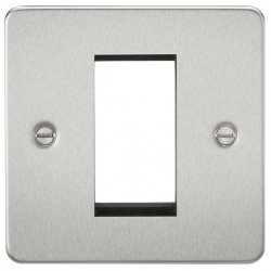 Knightsbridge Flat Plate Brushed Chrome 1 Gang Modular Faceplate