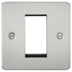 Knightsbridge Flat Plate Brushed Chrome 1 Gang Modular Faceplate