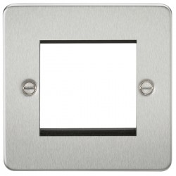 Knightsbridge Flat Plate Brushed Chrome 2 Gang Modular Faceplate