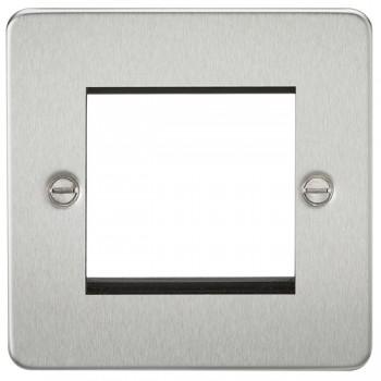 Knightsbridge Flat Plate Brushed Chrome 2 Gang Modular Faceplate
