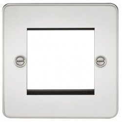 Knightsbridge Flat Plate Polished Chrome 2 Gang Modular Faceplate