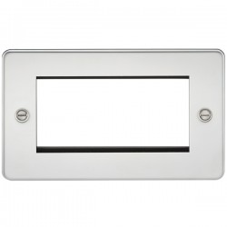 Knightsbridge Flat Plate Polished Chrome 4 Gang Modular Faceplate
