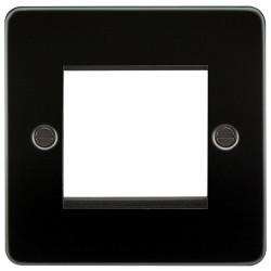Knightsbridge Flat Plate Gunmetal 2 Gang Modular Faceplate
