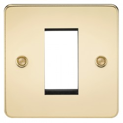 Knightsbridge Flat Plate Polished Brass 1 Gang Modular Faceplate