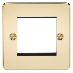 Knightsbridge Flat Plate Polished Brass 2 Gang Modular Faceplate