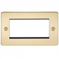 Knightsbridge Flat Plate Polished Brass 4 Gang Modular Faceplate