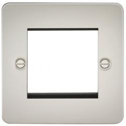 Knightsbridge Flat Plate Pearl 2 Gang Modular Faceplate