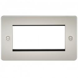 Knightsbridge Flat Plate Pearl 4 Gang Modular Faceplate