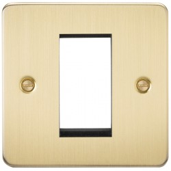 Knightsbridge Flat Plate Brushed Brass 1 Gang Modular Faceplate