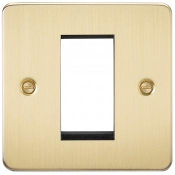 Knightsbridge Flat Plate Brushed Brass 1 Gang Modular Faceplate