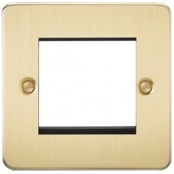 Knightsbridge Flat Plate Brushed Brass 2 Gang Modular Faceplate