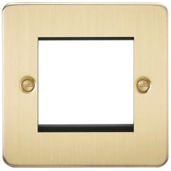 Knightsbridge Flat Plate Brushed Brass 2 Gang Modular Faceplate