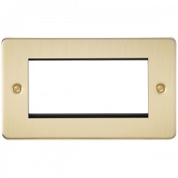 Knightsbridge Flat Plate Brushed Brass 4 Gang Modular Faceplate