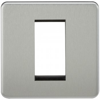 Knightsbridge Screwless Brushed Chrome 1 Gang Modular Faceplate