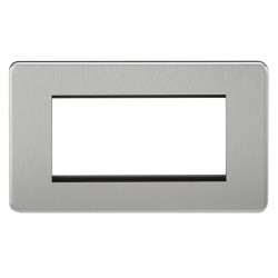 Knightsbridge Screwless Brushed Chrome 4 Gang Modular Faceplate