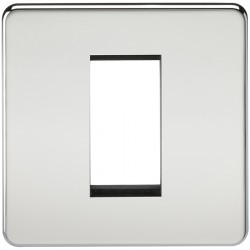 Knightsbridge Screwless Polished Chrome 1 Gang Modular Faceplate