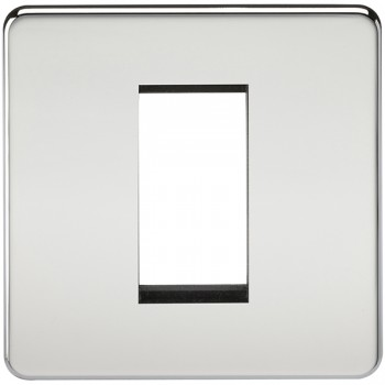 Knightsbridge Screwless Polished Chrome 1 Gang Modular Faceplate