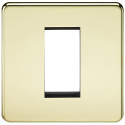 Knightsbridge Screwless Polished Brass 1 Gang Modular Faceplate
