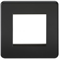Knightsbridge Screwless Matt Black 2 Gang Modular Faceplate