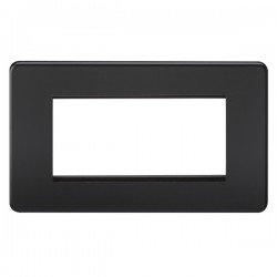 Knightsbridge Screwless Matt Black 4 Gang Modular Faceplate