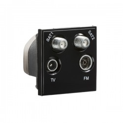Knightsbridge Black Quadplexed SAT1/SAT2/TV/FM DAB Outlet Module - 50x50mm