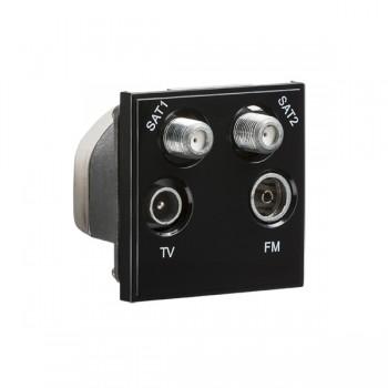 Knightsbridge Black Quadplexed SAT1/SAT2/TV/FM DAB Outlet Module - 50x50mm