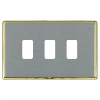 Hamilton Linea-Rondo CFX Polished Brass/Satin Steel 3 Gang Grid Fix Aperture Plate with Grid