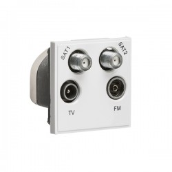 Knightsbridge White Quad SAT1/SAT2/TV/FM DAB Outlet Module - 50x50mm