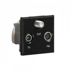 Knightsbridge Black Triplexed SAT/TV/FM DAB Outlet Module - 50x50mm