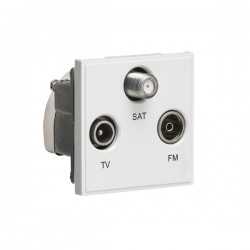 Knightsbridge White Triplexed SAT/TV/FM DAB Outlet Module - 50x50mm