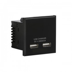 Knightsbridge Black Dual USB Charger Module - 50x50mm