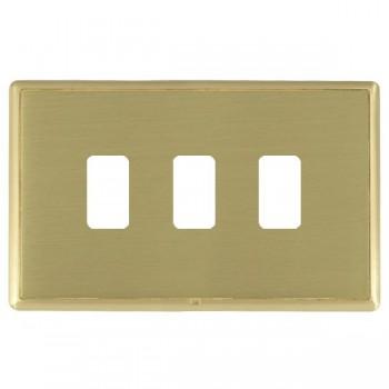 Hamilton Linea-Rondo CFX Satin Brass/Satin Brass 3 Gang Grid Fix Aperture Plate with Grid