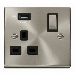Click Deco Victorian Satin Chrome 1 Gang 13A Ingot Switched Socket with Black Insert and 2.1A USB Outlet
