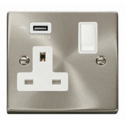 Click Deco Victorian Satin Chrome 1 Gang 13A Switched Socket with White Insert and 2.1A USB Outlet