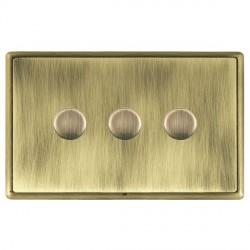Hamilton Linea-Rondo CFX Antique Brass/Antique Brass Push On/Off Dimmer 3 Gang 2 way with Antique Brass Insert