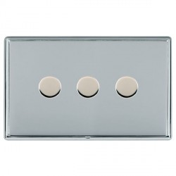 Hamilton Linea-Rondo CFX Bright Chrome/Bright Chrome Push On/Off Dimmer 3 Gang 2 way with Bright Chrome I...