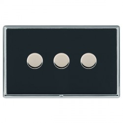 Hamilton Linea-Rondo CFX Bright Chrome/Piano Black Push On/Off Dimmer 3 Gang 2 way with Bright Chrome Ins...