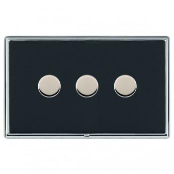 Hamilton Linea-Rondo CFX Bright Chrome/Piano Black Push On/Off Dimmer 3 Gang 2 way with Bright Chrome Insert