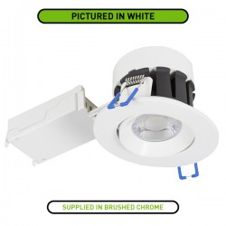 Robus Cavan 6.5W Colour Temp Selectable Dimmable Adjustable LED Downlight with Brushed Chrome Bezel