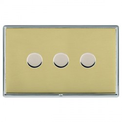 Hamilton Linea-Rondo CFX Bright Chrome/Polished Brass Push On/Off Dimmer 3 Gang 2 way with Bright Chrome Insert
