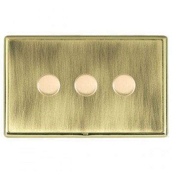 Hamilton Linea-Rondo CFX Polished Brass/Antique Brass Push On/Off Dimmer 3 Gang 2 way with Polished Brass Insert