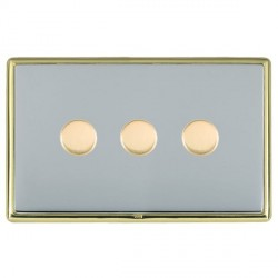 Hamilton Linea-Rondo CFX Polished Brass/Bright Steel Push On/Off Dimmer 3 Gang 2 way with Polished Brass Insert