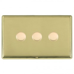 Hamilton Linea-Rondo CFX Polished Brass/Polished Brass Push On/Off Dimmer 3 Gang 2 way with Polished Brass Insert