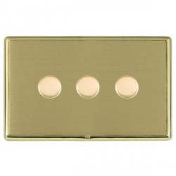 Hamilton Linea-Rondo CFX Polished Brass/Satin Brass Push On/Off Dimmer 3 Gang 2 way with Polished Brass Insert