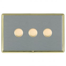 Hamilton Linea-Rondo CFX Polished Brass/Satin Steel Push On/Off Dimmer 3 Gang 2 way with Polished Brass Insert