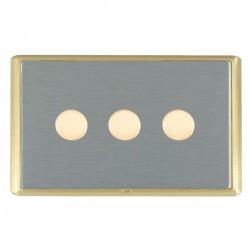 Hamilton Linea-Rondo CFX Satin Brass/Satin Steel Push On/Off Dimmer 3 Gang 2 way with Satin Brass Insert